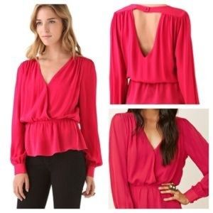 Parker Red Long Sleeve Quilted Peplum Blouse